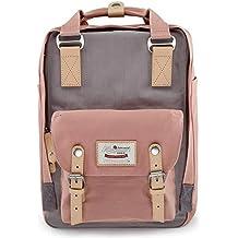 "Himawari Backpack/Waterproof Backpack 14.9"" College Vintage Travel Bag Women,13inch Laptop Student (Pink&Gray)"