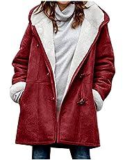 Fleecejack dames met capuchon warm - parka overgangsjas lang winterjas, damesjack, overgangsseizoen, trenchcoat, fleece jassen voor vrouwen, pluche jas, fleece gevoerde winterjas jas teddysweatjack