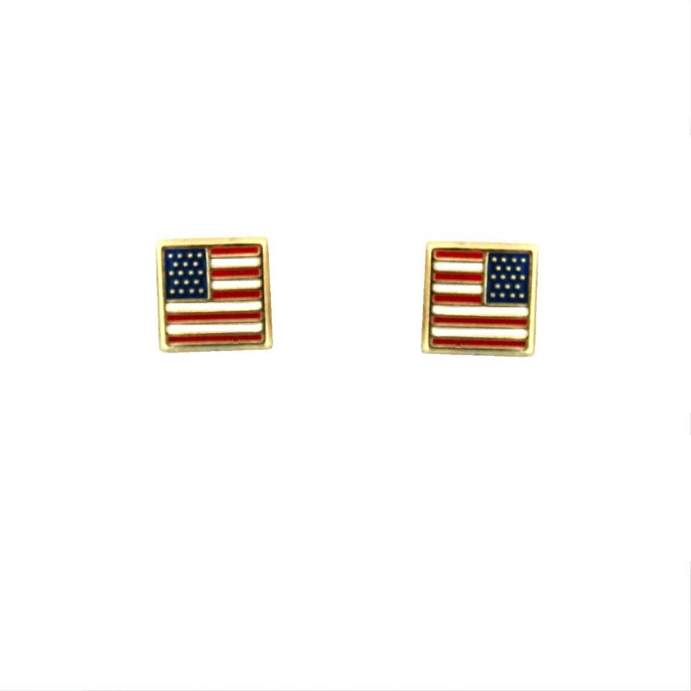 5mm 18K Yellow Gold USA Flag Screwback Earrings