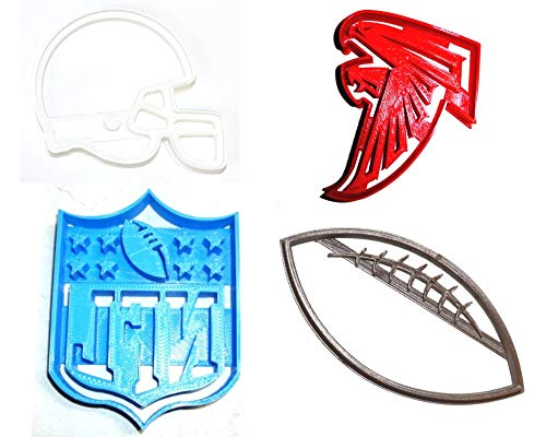 ATLANTA FALCONS NFL FOOTBALL LOGO HELMET SET OF 4 SPECIAL OCCASION COOKIE CUTTERS BAKING TOOL 3D PRINTED MADE IN USA PR1137
