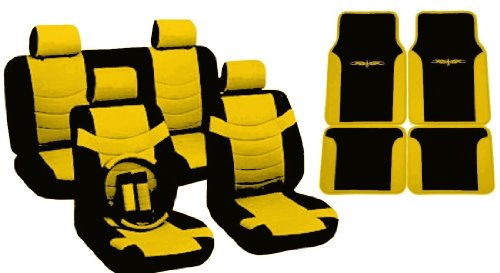 Yellow & Black Seat Covers Faux PU Leather Floor Mats Two Tone 4 Headrests For Dodge Neon
