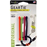 "Nite Ize GT3-4PK-A1 Original Gear, Reusable Rubber Twist Tie, Made in The USA, 3-Inch, 3""-4-Pack, Assorted Colors"