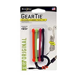 "WMB Travel Pro 41Jxu3RTniL._SS247_ Nite Ize GT3-4PK-A1 Original Gear, Reusable Rubber Twist Tie, Made in The USA, 3-Inch, 3"" - 4-Pack, Assorted Colors, 4 Count"
