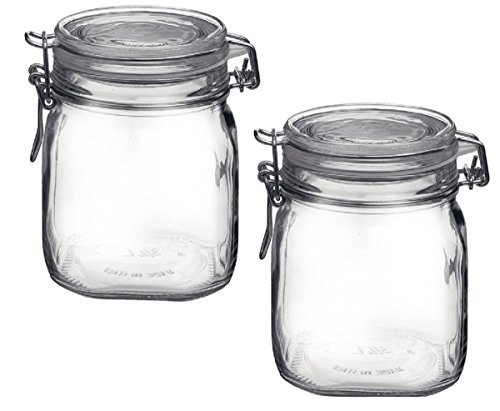 Bormioli Rocco B0727PL21D Fido Clear Jar .75 Liter 25.25 oz. Pack of 2 ()