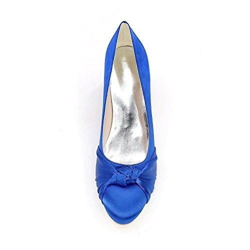 Blue Mujeres Tacón Cómoda Otoño Evening Boda L Alto Wedding Seda yc De Verano Shoes 4w5ROR
