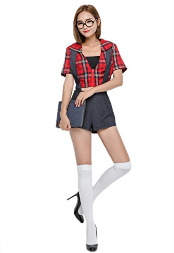 Sexy Schoolgirl Costume - Sexy Ladies School Girl Fancy Dress Costume Student Cosplay Secretary Game Play Night Club Clothes (One Size)