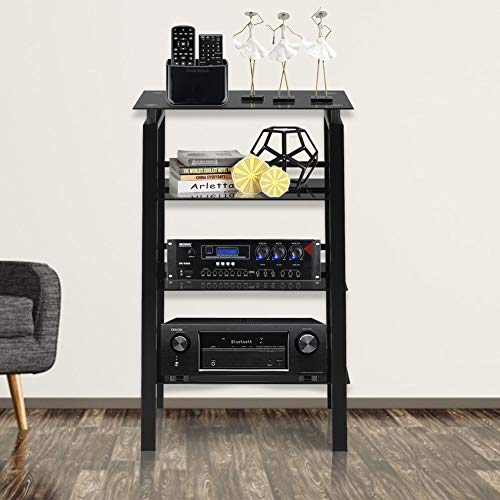 Superday 4-Tier Bookshelf, Standing Shelf Space Saving Multipurpose Storage Shelf Bookcase Audio-Video Shelving with Safety-Tempered Glass, High-Intensity Steel Frame Black