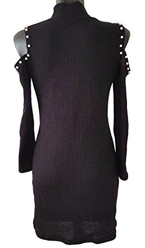 Pull-robe avec perles manche longue - Noir - Taille unique