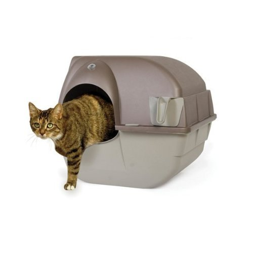 Omega Paw Roll n Clean Large Self Cleaning Litter Box, Brown with Taupe Base (OPRALG4) -