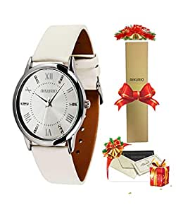 AIKURIO Women Ladies Wrist Watch Waterproof Quartz Watch with Crystal Dial Clock Leather for Female Luxury Fashion Business Classic (White)