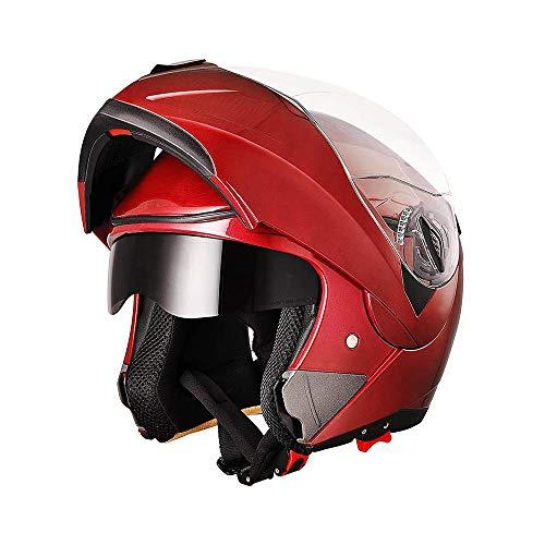 AHR Full Face Flip up Modular Motorcycle Helmet DOT Approved Dual Visor Motocross Red L (Best Womens Motorcycle Helmets)