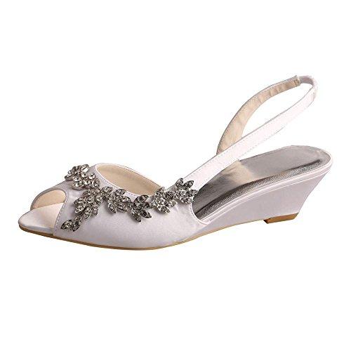 Wedopus MW368 Women's Open Toe Wedge Heel Satin Bridal Wedding Applique Shoes Sandals Size 7 White
