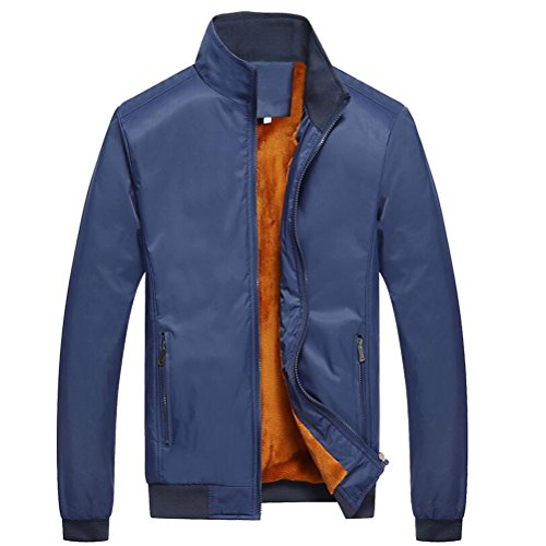 Velvet Warm Zhuhaitf Blue Outerwear Thicken Winter Stand Plus Coats Jackets Collar Mens Dark q8gTwH