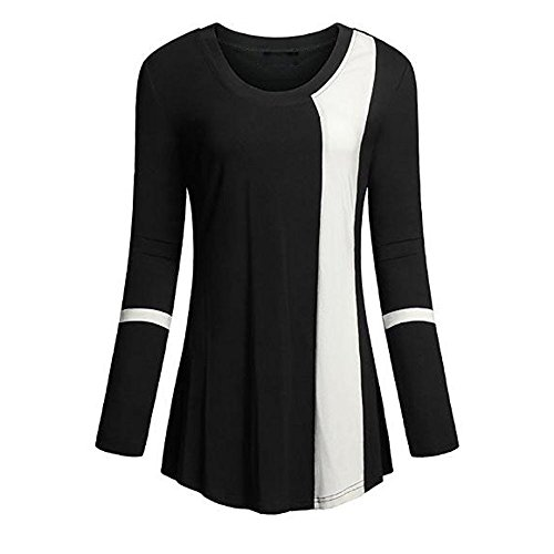 Women Blouse, Realdo Soft Scoop Neck long Sleeve Color Block Loose Tunics - Shipping Staples Tape