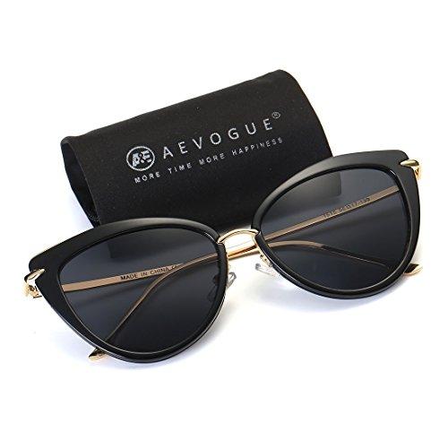AEVOGUE Sunglasses For Women Cat Eye Frame Metal Temple Brand Designer AE0269 (Gold&Black, - Sunglasses Black Gold And Designer