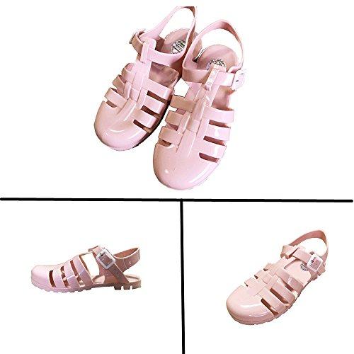 Slingback Nero 34 Kotzeb Donna Cinturino Rosa 39 Retro Ragazza Sandali Oro Sandals alla Fibbia Spiaggia Caviglia Scarpe Jelly Estate Bianca Basse Grigio Y4qF4