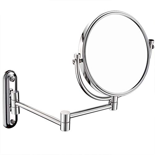 (Makeup Mirror,3X Magnification Double-Sided 6/8-Inch Round Rotating High-Definition Adjustable Fold Wall Mounted Mirror (Size : 5 Times))