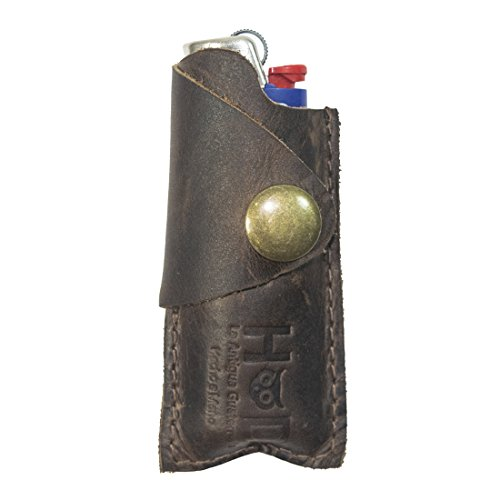 Rustic Leather Lighter Protective Case Handmade by Hide & Drink :: Bourbon Brown (Convert Leather Backpack)