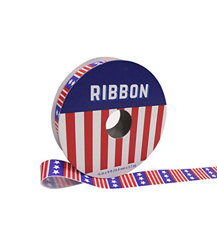 5/8 Bows Scrapbooking Ribbon - Americana Patriotic Red White and Blue Flag Stars and Stripes Ribbon 5/8'' x 9'