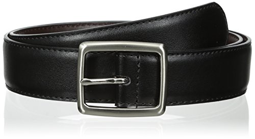 Florsheim Men's 32 mm Reversible Center Bar Buckle Belt, Black/Brown, - Belt Center