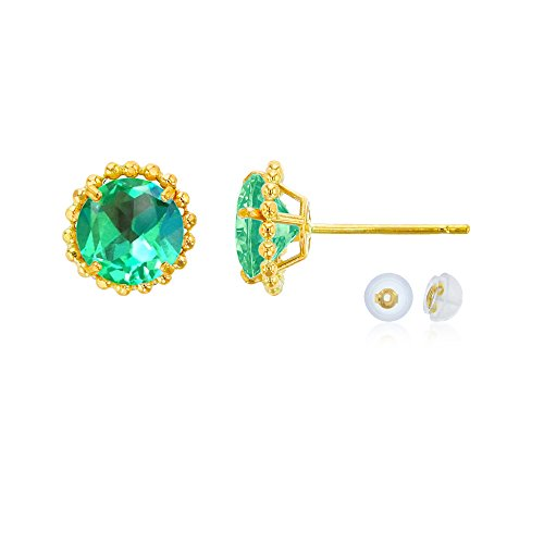 14K Yellow Gold 5mm Round Created Green Sapphire with Bead Frame Stud Earring with Silicone Back Carats Ruby Sapphire Beads