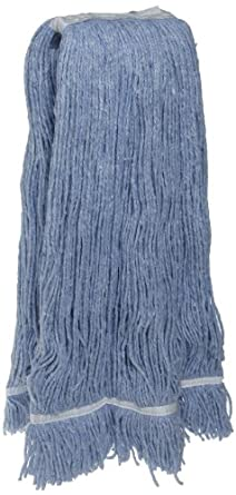 Zephyr Blendup Blue Blended Natural and Synthetic Fibers Cut End Wet Mop Head with Fantail (Pack of 12)