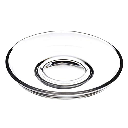 Turkish Tea Glass Saucers (6 Pcs) Pasabahce Brand (Saucers And Clear Cups Glass Coffee)
