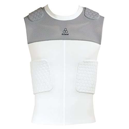 McDavid Classic Logo 7870Y CL Youth 5 Hex Pad Mesh Body Shirt White/Grey XL (Mcdavid Youth Hexpad 5 Pad)