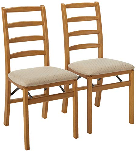 Stakmore Shaker Ladderback Folding Chair Finish, Set of 2, Oak