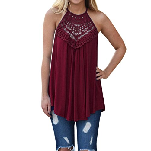 vermers Women Summer T-Shirt Lace Vest Top Sleeveless Blouse Casual Tank Loose Tops (2XL, Wine)