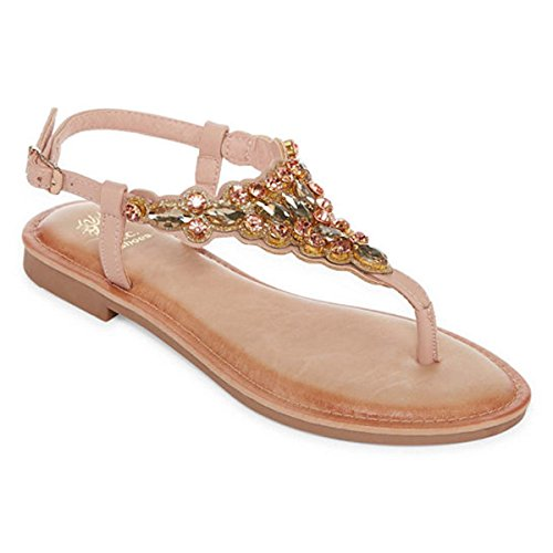 54118c7cc8a71 Gc Shoes Women s Phoebe Jeweled T Strap Flat Thong Sandal (7 B(M)