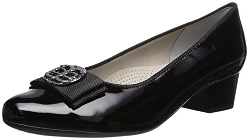 ARA Women's Nicolette Pump, Black Patent, 6 H US