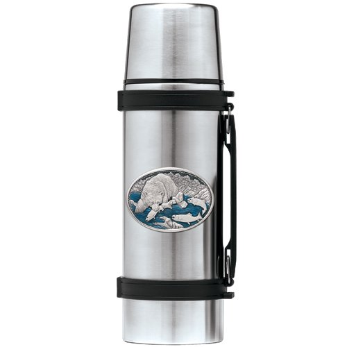 Heritage Metalworks THS118EB 1 ltr Brown Bear with Fish Thermos, Blue B071LTF4D6