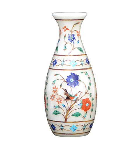 Sanskriitii Handcrafted 7 Inch Flower Vase Of Pure Natural Marble and Semi Precious Stones (Precious Vase)