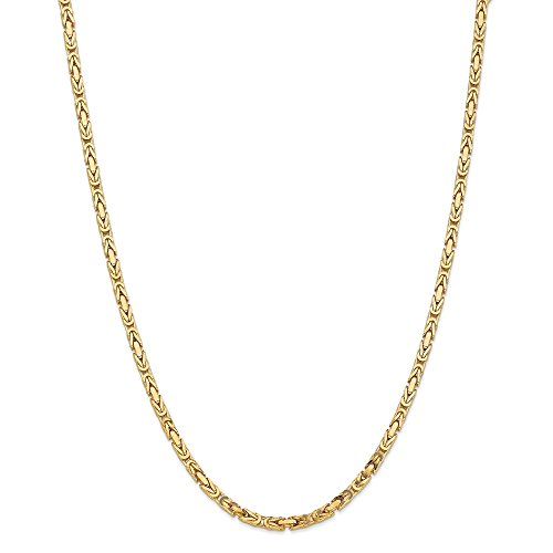 Solid 14k Yellow Gold 3.25mm Byzantine Big Large Heavy Thick Chain Necklace - with Secure Lobster Lock Clasp 20
