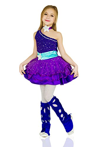 From Sleeping Beauty Fairies 3 Costumes (Kids Girls Star Queen Princess Fairy Princess One Shoulder Dress Costume Party (3-6 years,)