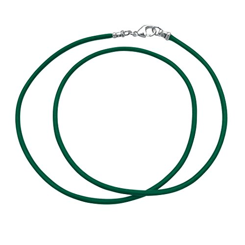 Sterling Silver 1.8mm Fine Emerald Green Leather Cord Necklace - 18 inches (Silver Leather Green)