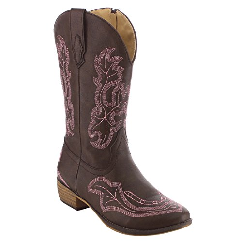BETANI Ebony Girl's Kids Western Embroidered Mid Calf Cowgirl Block Heel Boots,Brown 05,11