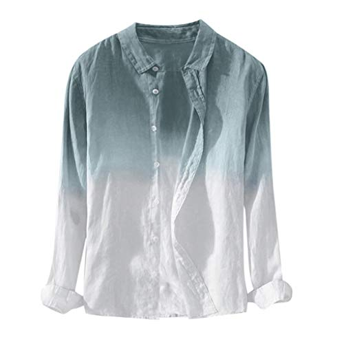 - TOPUNDER Summer Mens Cool Thin Breathable Lapel Collar Hanging Dyed Gradient Cotton Shirt Blue