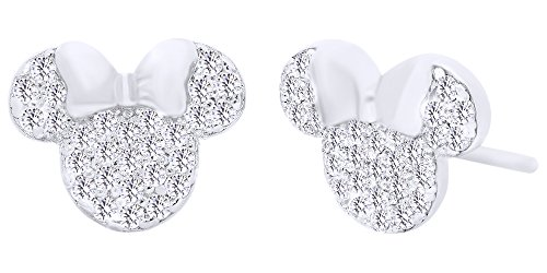 Sparkling White Cubic Zirconia Minnie Mouse Stud Earrings In 14K White Gold Over Sterling Silver