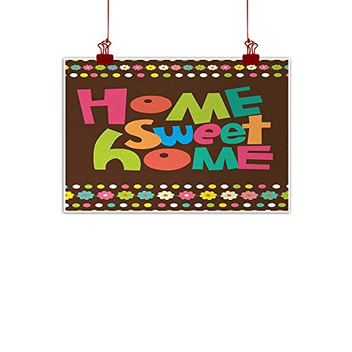 - duommhome Home Sweet Home Modern Oil Paintings Retro Cartoon Style Funky Colorful Letters and Floral Borders with Dots Decorative Painted Sofa Background Wall W20 xL16 Multicolor