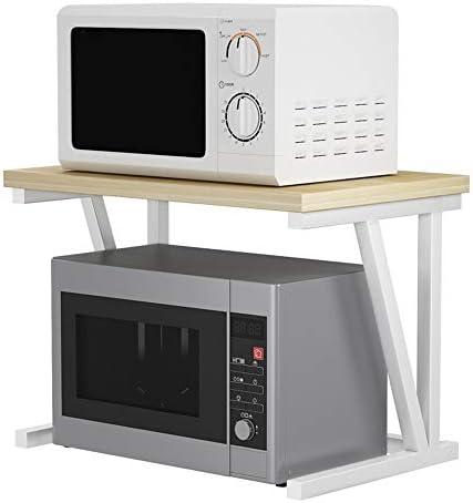 レンジ台 キッチン用品タオルとアクセサリー用の2段収納棚電子レンジラックユニット (Color : White, Size : 57X37X36CM)