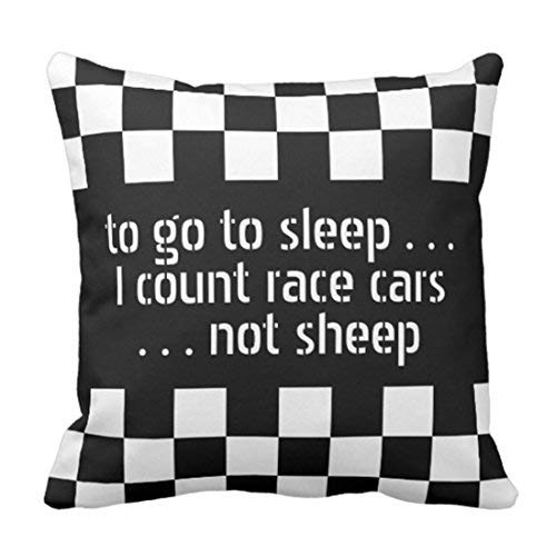Emvency Throw Pillow Cover Car Cool Black White Formula Checkered Flags Pattern Motorsport Decorative Pillow Case Home Decor Square 16 x 16 inch Pillowcase -