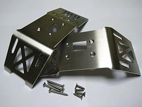 Stainless Steel Front + Rear Skid Plate Chassis Armor -2PCS For H-P-I 1/8 SAVAGE FLUX HP XL 4.6 5.9 CrazyRacer