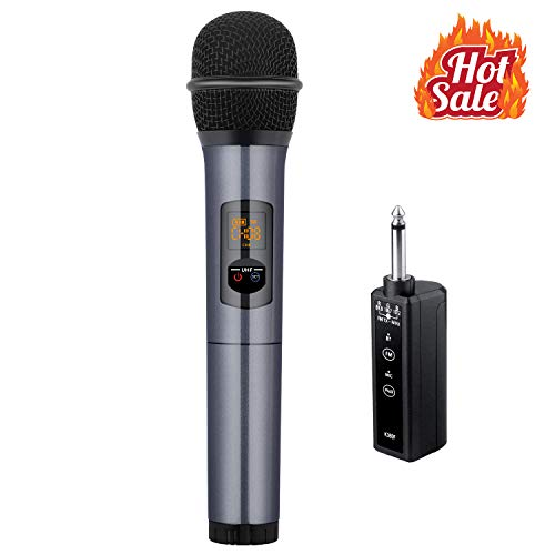 (Kithouse K380F Wireless Microphone Karaoke Microphone Wireless Mic with Bluetooth Receiver Rechargeable Professional - UHF Dynamic FM Cordless Microphone For Singing Karaoke Speech(Elegant Gray))