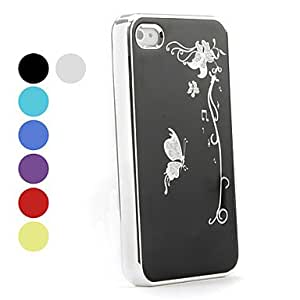 Elegant Style Butterfly Pattern Hard Case for iPhone 4 and 4S (Assorted Colors) , Navy