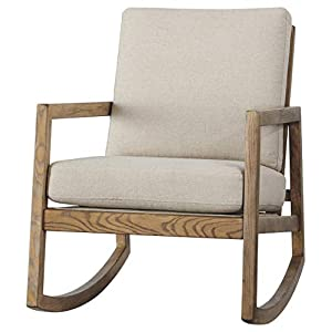 Benjara Fabric Accent Rocking Chair with Box Seat and Back Cushions, Beige and Brown
