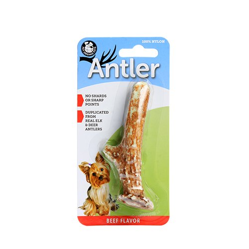 Pet Qwerks Nylon Beef Flavoring Antler Chew Toy, Small