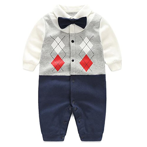 Fairy Tie Package (Fairy Baby Newborn Boy's Gentleman Romper Outfit with Bow Tie,9-12M,One Grid)