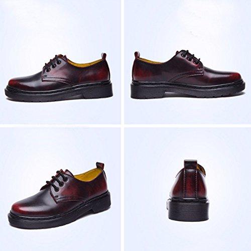 QIYUN.Z Mujeres Del Estilo De La Escuela De Inglaterra Baja Eje Martin Solos Zapatos Con Cordones De La Vendimia Rojo Mate